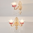 Modern Gold Wall Light Blossom 1/2 Heads Metal Sconce Light with Clear Crystal for Corridor