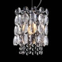 Metal Candle Suspension Light with Clear Crystal 1 Light Elegant Mini Chandelier in Chrome for Shop