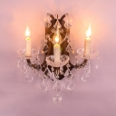 Resin Candle Wall Light Restaurant 3 Lights Antique Style Sconce Lamp with Clear Crystal