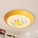 Cartoon Spider Ceiling Mount Light Acrylic Stepless Dimming/White Flush Light in Yellow for Boys Bedroom