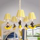 Resin Banana Monkey Chandelier Chandelier Child Bedroom 5 Heads Cartoon Pendant Light in Yellow