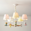 Resin Animal Suspension Light 5 Lights Cartoon Chandelier in White for Kindergarten Living Room