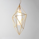 Elegant Tube Suspension Light with Diamond Cage 1 Light Opal Glass Pendant Light in Gold for Bedroom