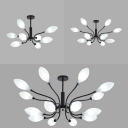 Traditional Leaf Shaped Chandelier Milk Glass 8/12/16 Heads Black Pendant Light for Living Room