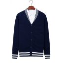 New Stylish V-Neck Long Sleeve Striped Hem Slim Fitted Button Down Cardigan Knitwear