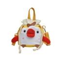 Cute Cartoon Chicken Pattern Canvas Drawstring Crossbody Bucket Bag for Girls 18*16*14 CM