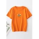 Summer Simple Popular Avocado Pattern Round Neck Short Sleeve Casual T-Shirt