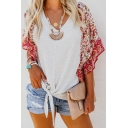 Summer Fashion Floral Printed Short Sleeve Tied Hem White Casual Blouse Top
