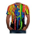 Summer Trendy Cool Splash-Ink Printed Round Neck Short Sleeve T-Shirt