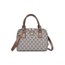 Trendy Classic Printed PU Leather Commuter Satchel Shoulder Handbag 25*11*19 CM