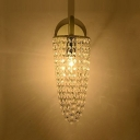 Modern Stylish Cone Wall Lamp Clear Crystal Bead 1 Light White Wall Light for Bedroom Stair