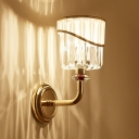 1 Light Cylidner Wall Lamp Traditional Stainless Steel Sconce Light in Gold for Hotel Cafe