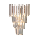 Clear Crystal Cone Shade Wall Light Elegant Style Sconce Light in Chrome Finish for Study Room