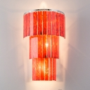 Restaurant Cafe 3-Tier Wall Light Acrylic 3 Lights Modern Stylish Red Sconce Light