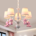 Bow Bear Metal Hanging Light 5 Lights Lovely Chandelier Light in Blue for Boys Girls Bedroom