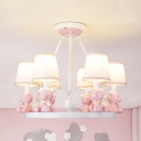 Metal Toy Bear Chandelier Child Bedroom 3/6 Lights Nordic Stylish Pendant Light in Blue/Pink/White