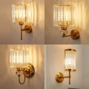 Cylinder Bedroom Bathroom Sconce Light Striking Crystal Modern Style Wall Lamp in Gold Finish