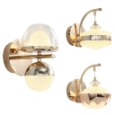 Modern Style Gold Wall Lamp Frosted Crystal 1 Head Metal Hanging Sconce Light for Office Hallway