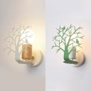 Green/White Bird Tree Wall Light Single Light Nordic Style Metal Wood Sconce Light for Kid Bedroom