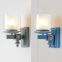 Front Door Cylinder Candle Wall Light Metal 1 Head Simple Style Sky Blue/Water Blue Sconce Light
