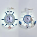 Rudder Shape Kid Bedroom Wall Light with Clock Resin Nautical Style Sconce Light in Blue