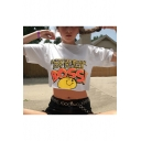Summer Funny Cartoon Smile Face Letter BOSS Print Casual Loose White Crop Tee