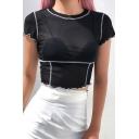 Summer Trendy Contrast Piping Curved Hem Short Sleeve Sheer Mesh Black Crop Tee