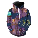 Unique Funny Cartoon Skull Printed Long Sleeve Purple Sport Loose Hoodie