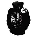 Cool Simple Sketch Figure Face Print Black Sport Casual Pullover Hoodie