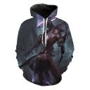 Stylish Cool Comic Figure Printed Long Sleeve Loose Casual Pullover Hoodie