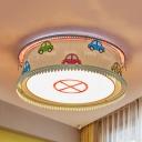 Multi-Color Car Flush Mount Light Sport Metal Warm/White/Third Gear Ceiling Light for Kid Bedroom