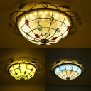 12 Inch Bedroom Dome Ceiling Lamp Blue/Clear/White Glass Tiffany Style Ceiling Mount Light
