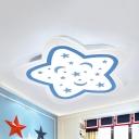 Acrylic Starry LED Ceiling Mount Light Boys Girls Bedroom Romantic White Lighting Ceiling Lamp in Blue/Pink
