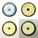 Art Glass Flush Mount Light with Grid/Leaf/Peacock/Solid Color Study Room 4 Lights Traditional Tiffany Ceiling Light