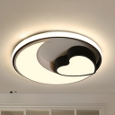 Crescent Heart Dining Room Flush Light Acrylic Romantic Ceiling Mount Light with Stepless Dimming/White Lighting