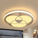 Contemporary Black/White Ceiling Fixture Circle Acrylic Metal White Lighting Flush Ceiling Light for Kitchen