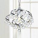 Chrome Swirl Pendant Light with Glittering Crystal 1 Light Luxurious Style Metal Chandelier for Foyer