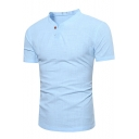 Mens New Stylish Simple Plain Button V-Neck Short Sleeve Fitted Henley Shirt