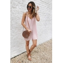 Summer Womens New Fashion Button Down Sleeveless Mini Casual Loose Cami Dress