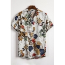 Mens Vintage White Floral Printed Button Front Short Sleeve Casual Shirt