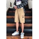 Summer Trendy Basic Flap Pocket Loose Fit Solid Color Casual Cargo Shorts