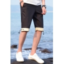 Summer Simple Fashion Color Block Drawstring Hem Men's Casual Beach Shorts