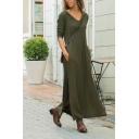 Womens Hot Fashion Plain Long Sleeve Split Side Maxi Casual Loose Hooded Dress with Pocket