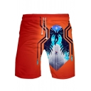 Summer Cool Unique Figure Spider Printed Drawstring Waist Loose Sport Beach Shorts