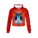 Trendy Unique Cool Figure Spider 3D Printed Long Sleeve Orange Cropped Hoodie