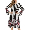 Womens Fancy Black Floral Striped Printed V-Neck Long Sleeve Midi A-Line Dress
