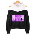Senpai Comic Anime Girl Printed Cold Shoulder Long Sleeve Casual Pullover Hoodie