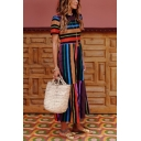 Hot Fashion Rainbow Striped Printed Round Neck Short Sleeve Maxi A-Line Dress