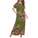 Vintage Ethnic Style Patched Round Neck Short Sleeve Green Maxi Beach Dress