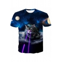 Funny Blue Galaxy Laser Cat 3D Printed Round Neck Short Sleeve T-Shirt